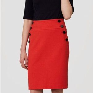 Loft Orange Bi-stretch Sailor Pencil Skirt Sz 10P